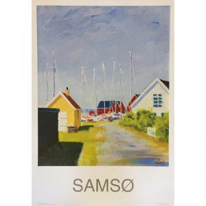 Plakat med motiv af Mårup Havn malet af Jeppe Jeppesen