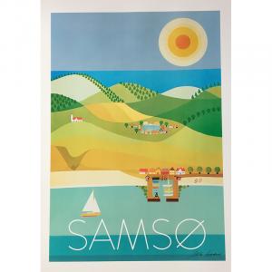 Plakat med retro motiv af Samsø